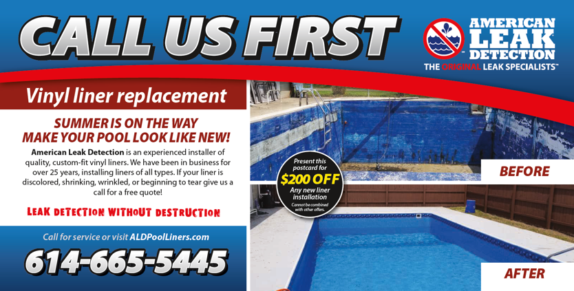 American Leak Detection Postcard for Vinyl Liner Pool Replacement